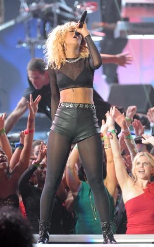 Rihanna's black leather zipper shorts