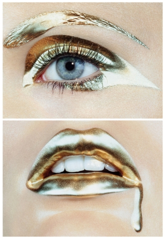 gold eyes and lips makeup