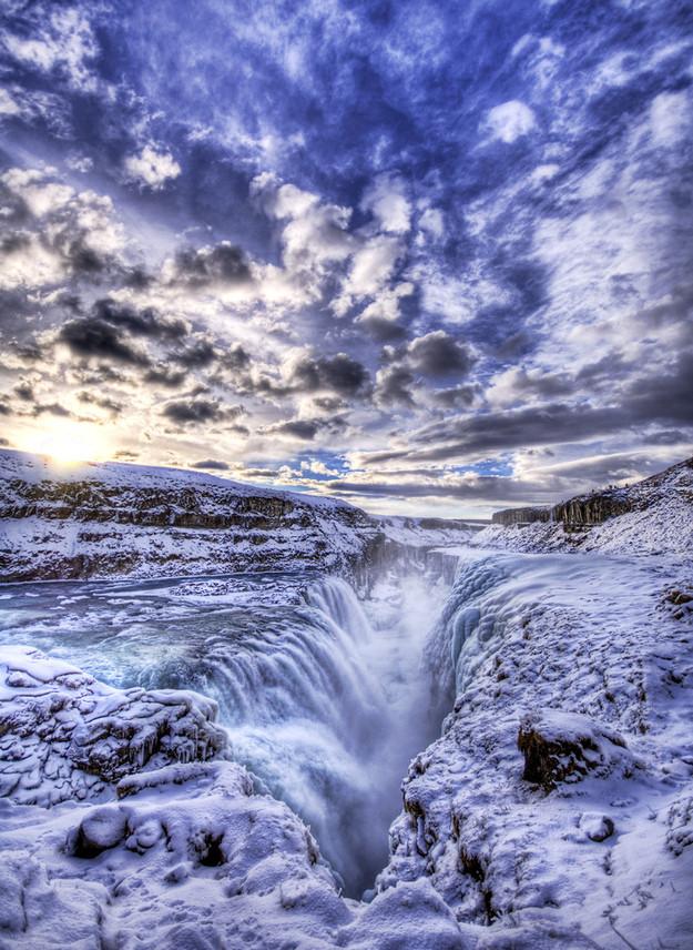 beautiful waterfall photo Gulfoss Iceland
