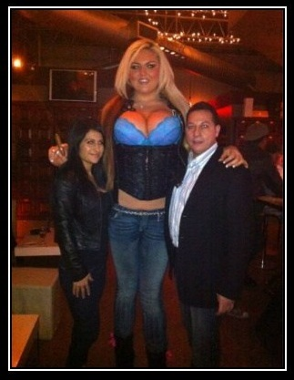giant blonde woman with blue bra