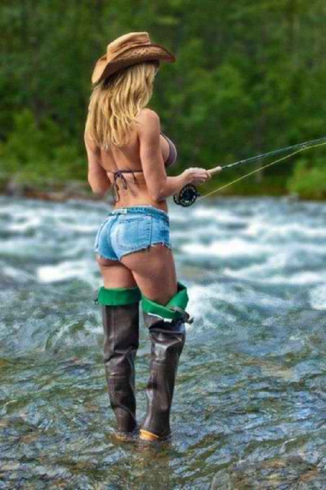 country girl fishing in a river