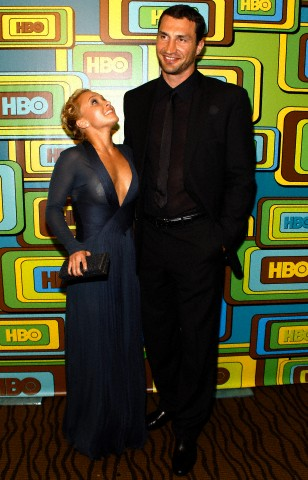 Actress Panettiere poses with her boyfriend, Ukrainian WBA heavyweight boxer Klitschko, at HBO after party for the 68th annual Golden Globe Awards in Beverly Hills in this file photo