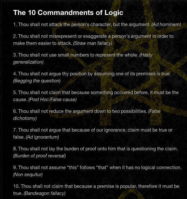the ten commandments of logic
