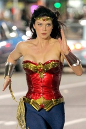 """Wonder Woman"" Adrianne Pailicki shows off her wonders as she films late night/early morning scenes for the pilot"