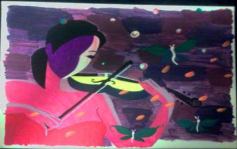 girl with violin by Gary Jones